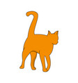 red cat with a raised tail on a white background vector image