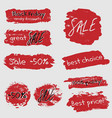 sale stickers set with red brushstrokes vector image vector image