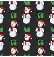 seamless pattern snowmen vector image vector image