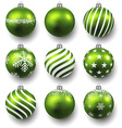 Set of realistic green christmas balls vector image vector image