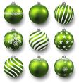 Set of realistic green christmas balls vector image vector image