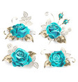 set of turquoise roses vector image vector image
