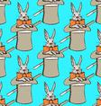 Sketch rabbit in hatl in vintage style vector image