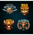 Sports labels with heads of animals Wolf vector image vector image