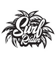 surf rider lettering poster surfing related vector image