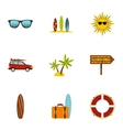 Surfing club icons set flat style vector image vector image