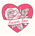 Tattoo flower with floral elements and heart in vector image