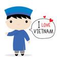 vietnam men national dress cartoon vector image vector image
