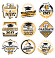 vintage student graduate badges graduation vector image vector image