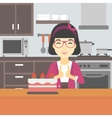 Woman looking at cake with temptation vector image vector image