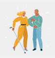 young coule with blind woman vector image vector image
