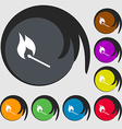 burning match icon sign Symbols on eight colored vector image