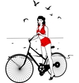Elegant pinup girl on a bicycle vector image