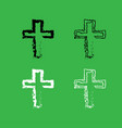 cross icon black and white color set vector image