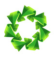 7 green recycling arrows button vector image