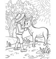 a coloring bookpage for childrena boy with a mule vector image
