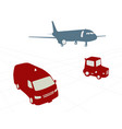 airport carts and airplane vector image