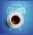 alarm clock and coffee concept with vector image