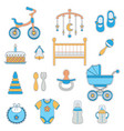 baby boy flat icons vector image