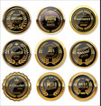 black and gold medal collection vector image vector image