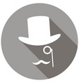 bowler hat and moustache on long shadow vector image vector image