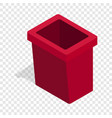 burgundy trash bin isometric icon vector image vector image