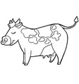 cartoon cute cattle or cow coloring page vector image vector image
