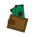 cartoon wallet with money cash image vector image vector image