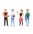 catering service worker people set happy vector image