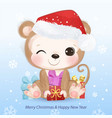 christmas greeting card with cute animals vector image