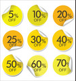 collection of yellow discount offer price labels vector image vector image