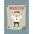 Confident businessman in wanted poster vector image