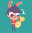 Cute Bunny Boy Holding an Easter Chocolate Egg vector image vector image