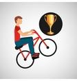 cyclist man trophy sport design vector image