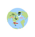 earth winking emoji planet merry emotion isolated vector image