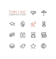 Education - Thin Single Line Icons Set vector image vector image