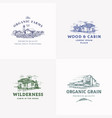 farms and cabins abstract signs symbols vector image vector image
