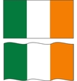 Flat and waving Irish Flag vector image vector image