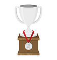 flat silver cup with medal vector image