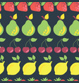 fruits in rows seamless pattern background vector image vector image