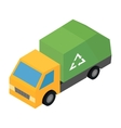 Garbage truck isometric 3d icon vector image vector image