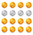 Gold and silver currency coin icon vector image