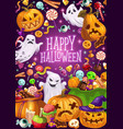 halloween holiday ghosts and jack lanterns vector image vector image
