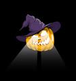 halloween pumpkin in witch hat vector image vector image
