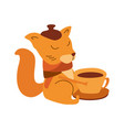 hand-drawn cute doodle cartoon autumn squirrel vector image