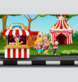 happy kids having fun in an amusement park vector image vector image
