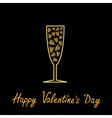 Happy Valentines Day Love card Champagne glass vector image vector image