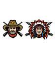head of cowboy and indian vector image vector image