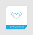 heart with wings icon white background vector image vector image