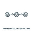 Horizontal integration icon thin line style